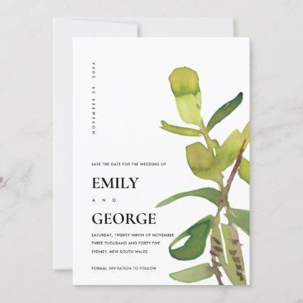 MODERN LEAFY WATERCOLOR FOLIAGE SAVE THE DATE CARD