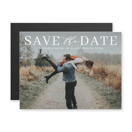 Modern Love Mix Typography Photo Save the Date II Magnetic Invitation