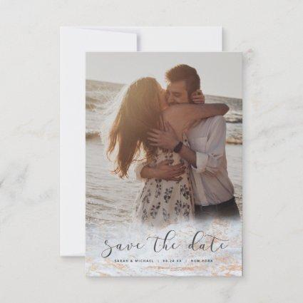 Modern Marble Fade Dusty Blue Copper Custom Photo Save The Date