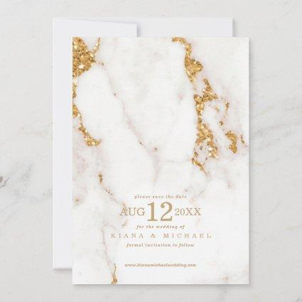 Modern Marble Glitter Wedding Gold ID816 Save The Date