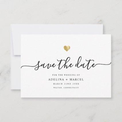 Modern Minimal Calligraphy Chic Gold Save The Date