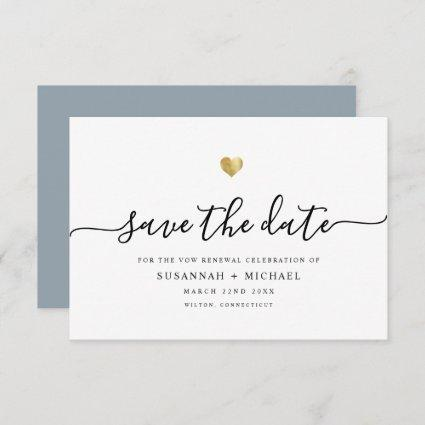 Modern Minimal Script Gold Vow Renewal Dusty Blue Save The Date