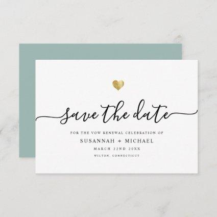 Modern Minimal Script Gold Vow Renewal Dusty Green Save The Date