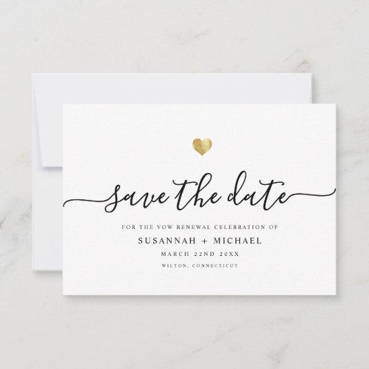 Modern Minimal Script Gold Vow Renewal Save The Date