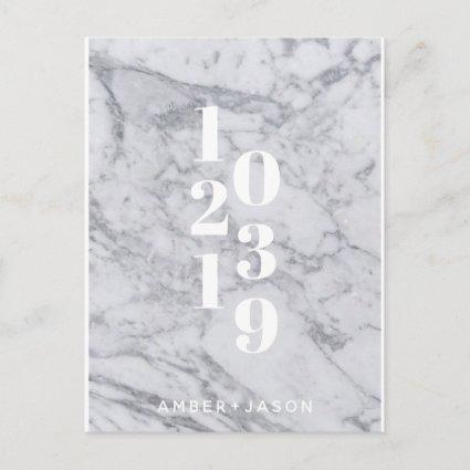 modern minimal white marble Save the Date Announcement