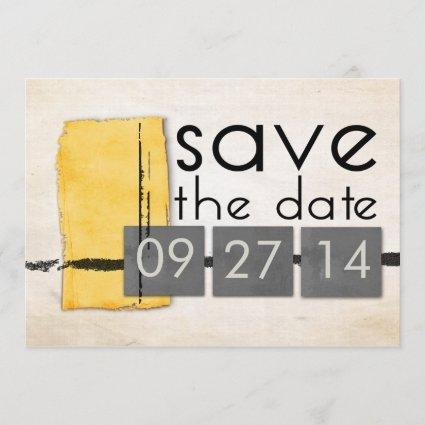 Modern Minimalism Yellow  Gray Save the Date