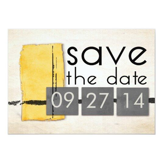 Modern Minimalism Yellow  Gray Save the Date 5x7 Paper Invitation Card