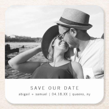 Modern Minimalist Black White Photo Save the Date Square Paper Coaster