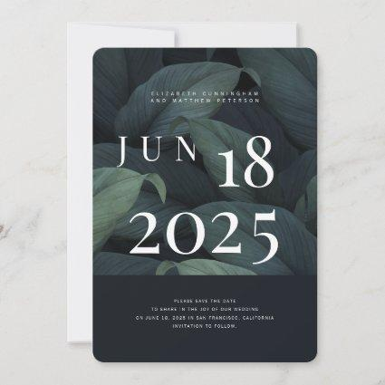 Modern + Minimalist Foliage Wedding Save The Date