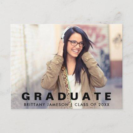 Modern Minimalist Graduation Announcements Photo