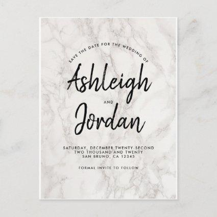 Modern Minimalist Marble Save The Date Script Announcement