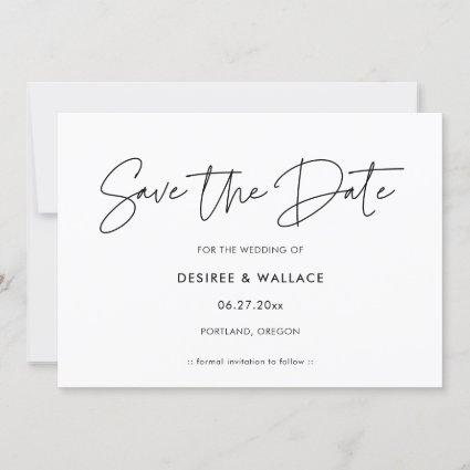 Modern minimalist save the date invitation