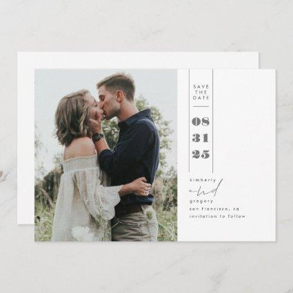 Modern Minimalist Save the Date Vertical Photo