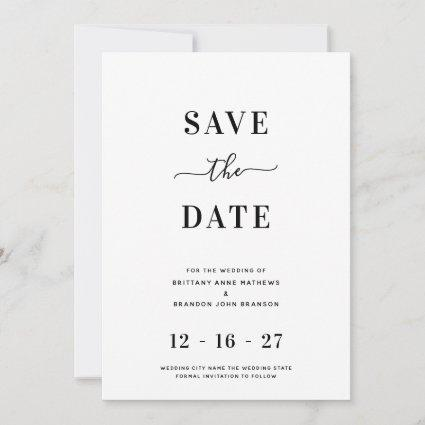 Modern Minimalist White Wedding Save The Date