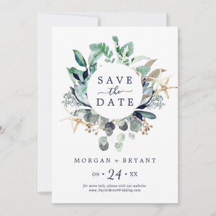 Modern Nautical | Greenery Save the Date Card