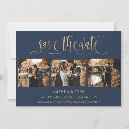 Modern Navy and Gold Wedding Photo Save The Date