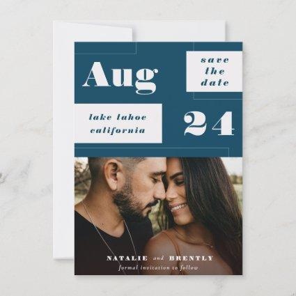 Modern Navy Blue Geometrics with Bold Text Photo Save The Date