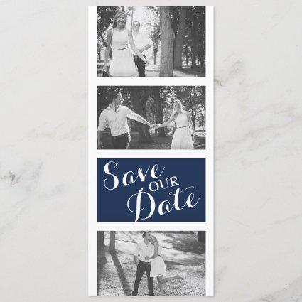 Modern Navy Blue Gold Wedding Photo Save The Date