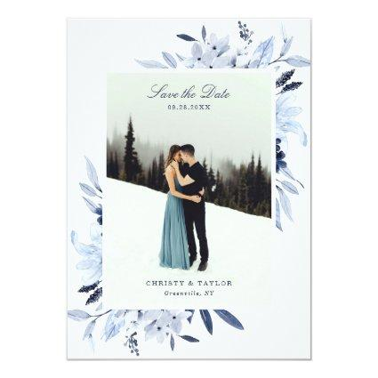 Modern Navy Blue Watercolor Floral Save The Date Invitation