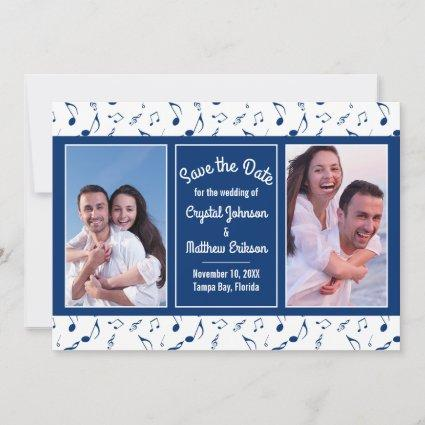 Modern Navy White Music Notes Photo Save the Date