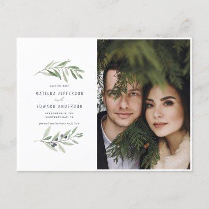 Modern olive branch foliage photo save the date holiday