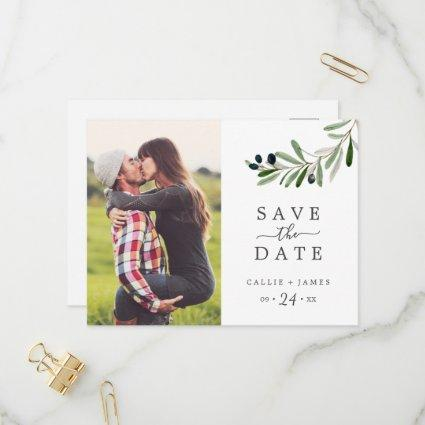 Modern Olive Branch Photo Save the Date Invitation