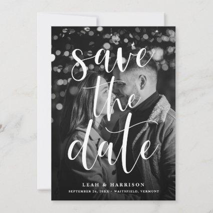 Modern Overlay Black & White Photo Save The Date