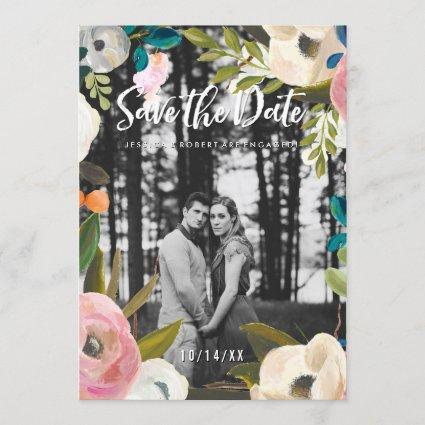 Modern Painted Floral Photo Save the Date Cards