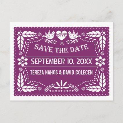 Modern Papel picado purple wedding Save the Date Announcement