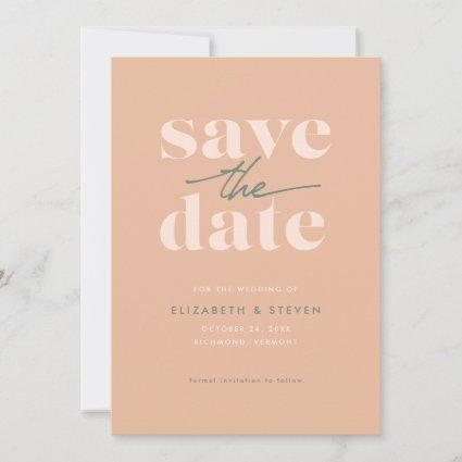 Modern Peach and Sage Save the Date Card