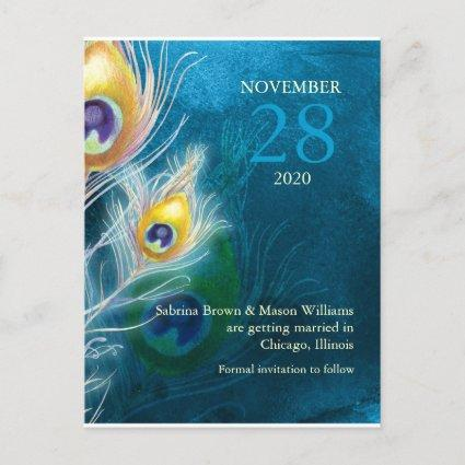 Modern Peacock Blue Wedding Save the Date Announcement