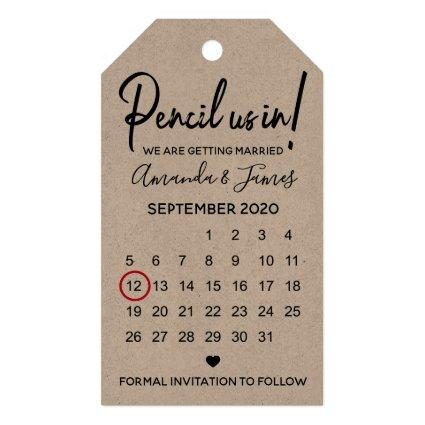 Modern Pencil Us In Calendar Save The Date Gift Tags
