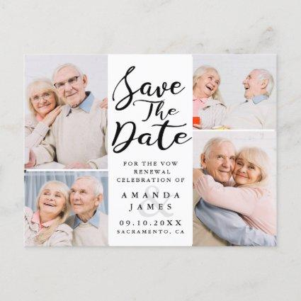 Modern Photo Collage Vow Renewal Save The Date Announcement