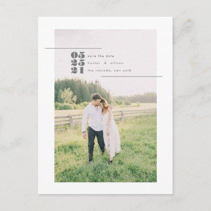 Modern Photo Save the Date Post Card