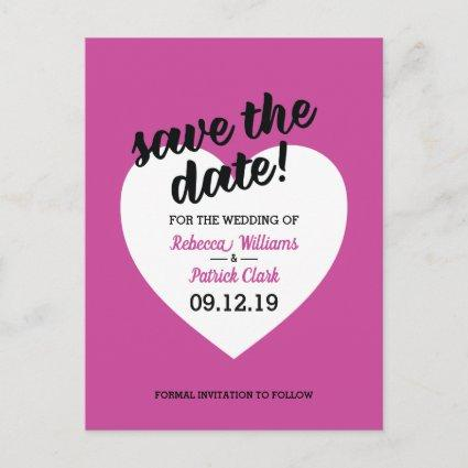 Modern Pink Heart Wedding Save The Date Announcement