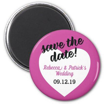 Modern Pink Heart Wedding Save The Date Magnet