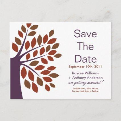 Modern Plum Tree Save The Date POST CARD! Announcement