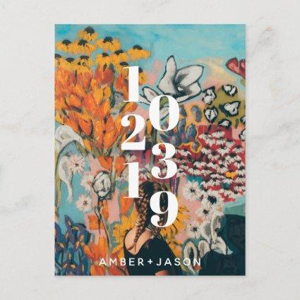 modern quirky floral Save the Date Announcement