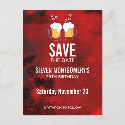 Modern Red Abstract Birthday
