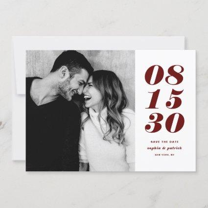Modern Red and White Bold Date Typography Photo Save The Date