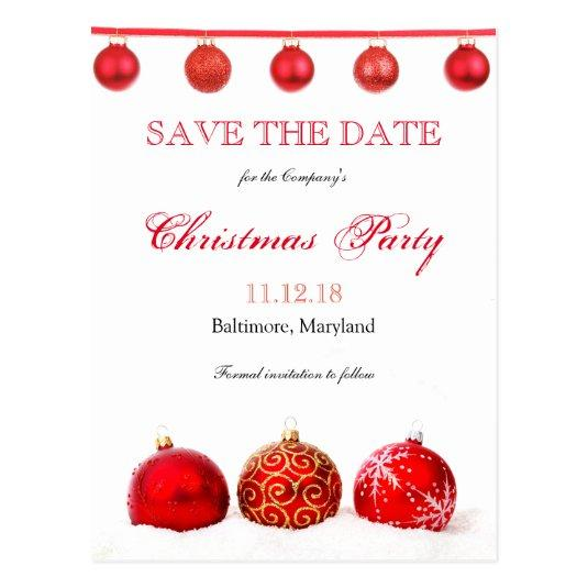 Christmas Party Save The Date Template.Modern Red Ornaments Save The Date Christmas Party Save