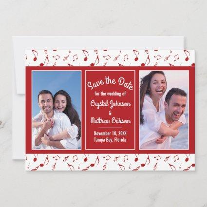 Modern Red White Music Notes Photo Save the Date