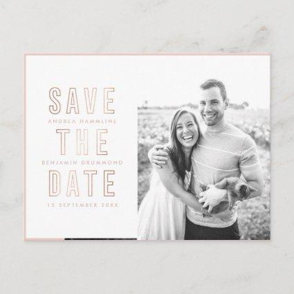 Modern Rings Rose Gold Save the Date Cards