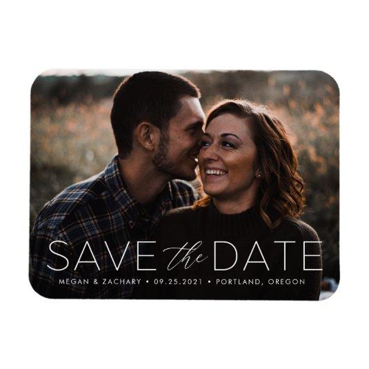 Modern Romance White Overlay Save the Date Magnets