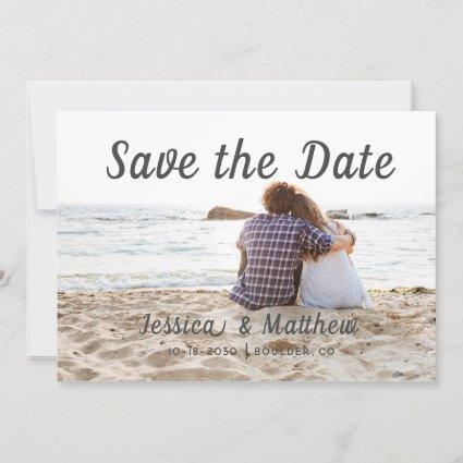 Modern Romantic Beach 3 Photos of Couple Save The Date