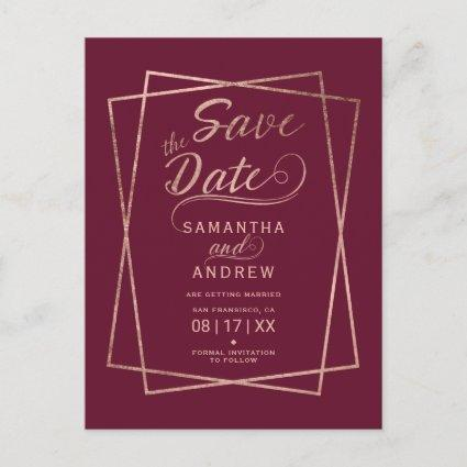 Modern rose gold burgundy geometric save the date announcement