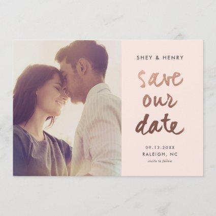Modern rose gold faux foil photo save the date