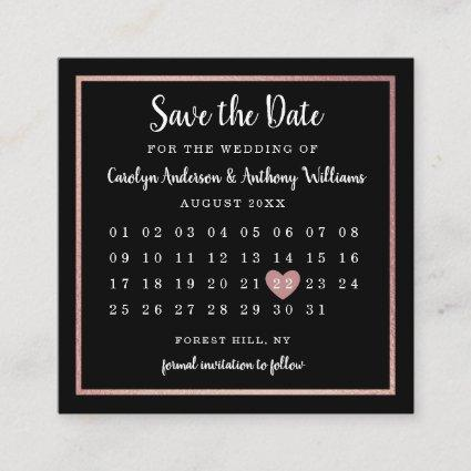 Modern Rose Gold Foil Calendar Save The Date Enclosure Cards