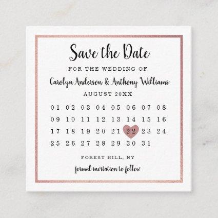 Modern Rose Gold Foil Calendar Save The Date Enclosure Card