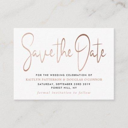 Modern Rose Gold Foil Script Save The Date Enclosure Card